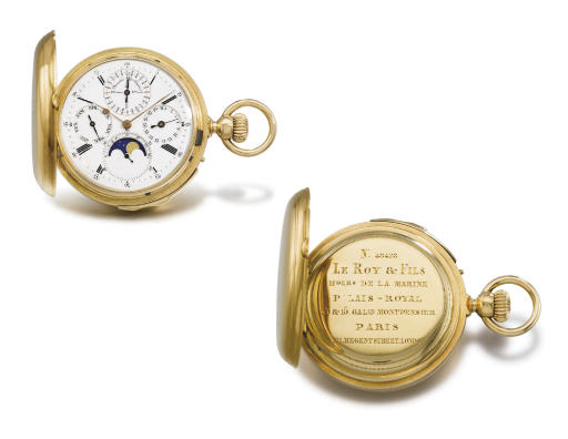 Louis Audemars, made for Le Roy & Fils. A very fine and rare 18K gold hunter case minute repeating perpetual calendar keyless lever watch with phases of the moon
