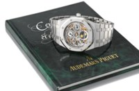 Audemars Piguet. A fine, rare and large stainless steel limited edition self-winding water-resistant skeletonized perpetual calendar wristwatch with phases of the moon and bracelet