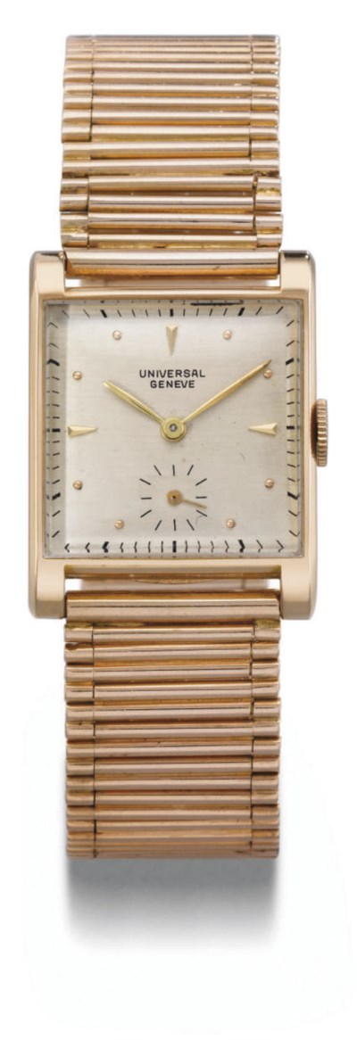 Universal. An 18K pink gold sq