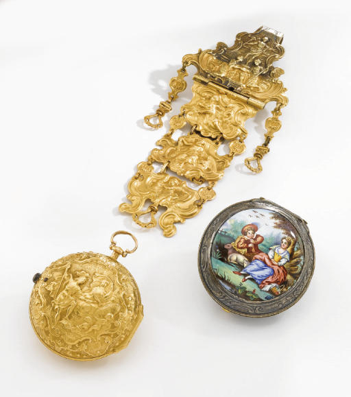 Cowell. A fine and rare 18K gold pair case repousse watch with matching chatelaine and a silver and enamel outer protective case
