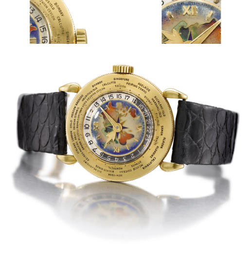 Patek Philippe. A extremely fine and rare 18K gold World Time wristwatch with cloisonne enamel dial depicting the Eastern hemisphere