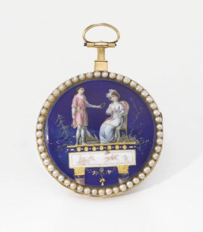 Swiss. An 18K gold, enamel and
