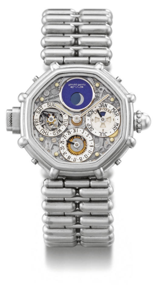 Gerald Genta. A very fine and rare platinum octagonal self-winding water-resistant skeletonized minute repeating perpetual calendar wristwatch with phases of the moon and bracelet