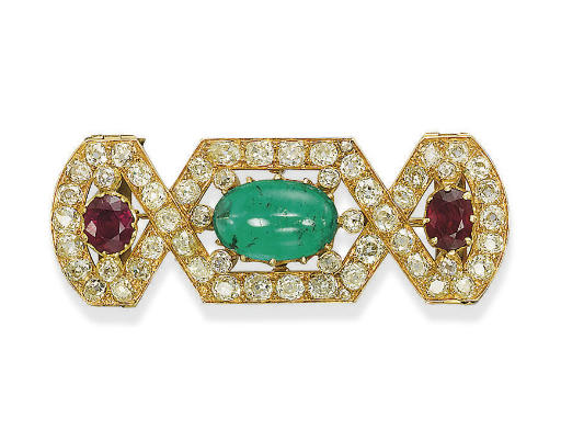 AN EMERALD, RUBY AND DIAMOND B
