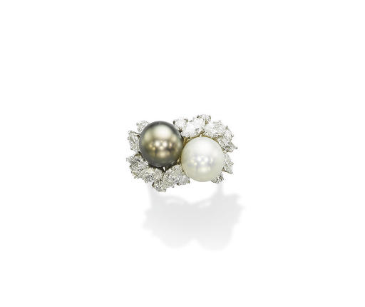 A CULTURED PEARL AND DIAMOND RING, BY HARRY WINSTON