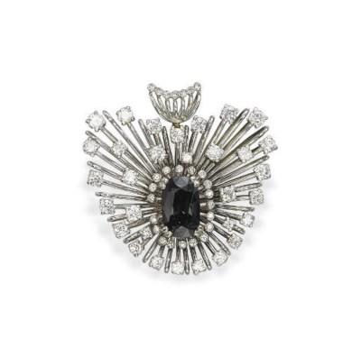 AN ALEXANDRITE AND DIAMOND BRO
