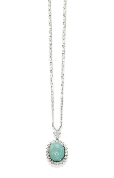 A TURQUOISE AND DIAMOND PENDEN