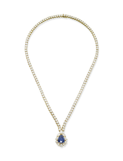 A SAPPHIRE AND DIAMOND PENDENT NECKLACE, BY VAN CLEEF & ARPELS