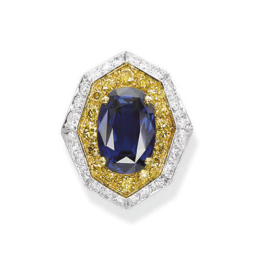 A SAPPHIRE, COLOURED DIAMOND A