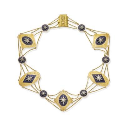 AN ANTIQUE DIAMOND, ENAMEL AND