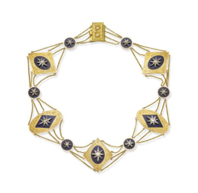 AN ANTIQUE DIAMOND, ENAMEL AND