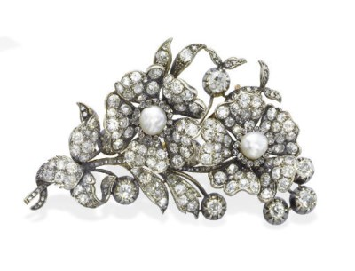 AN ANTIQUE PEARL AND DIAMOND F