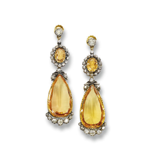A PAIR OF ANTIQUE TOPAZ AND DI