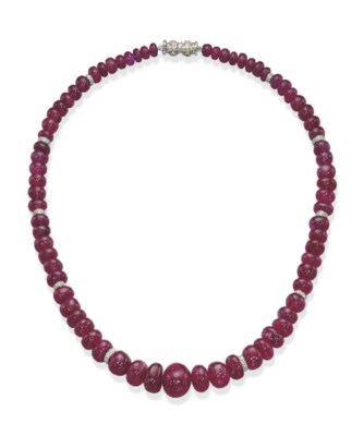 A RUBY BEAD NECKLACE