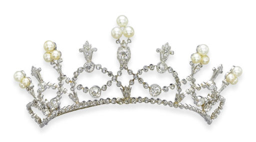 **A BELLE EPOQUE PEARL AND DIAMOND TIARA, BY FONTENAY