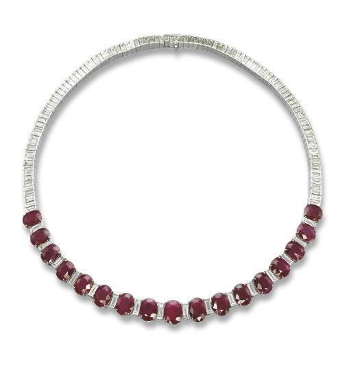 A RUBY AND DIAMOND NECKLACE, BY FÜRST