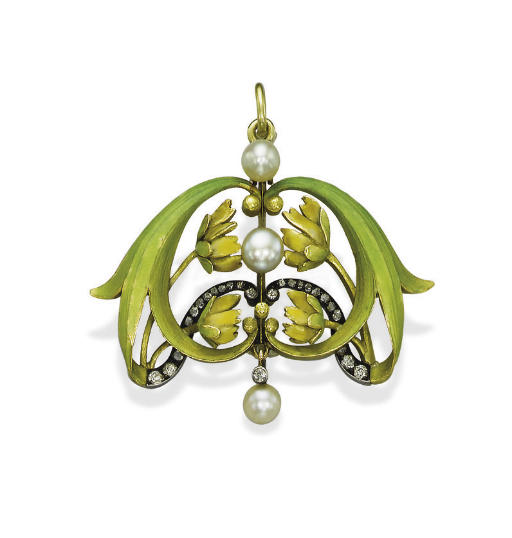 AN ANTIQUE ENAMEL, PEARL AND DIAMOND BROOCH/PENDANT, BY BOLIN
