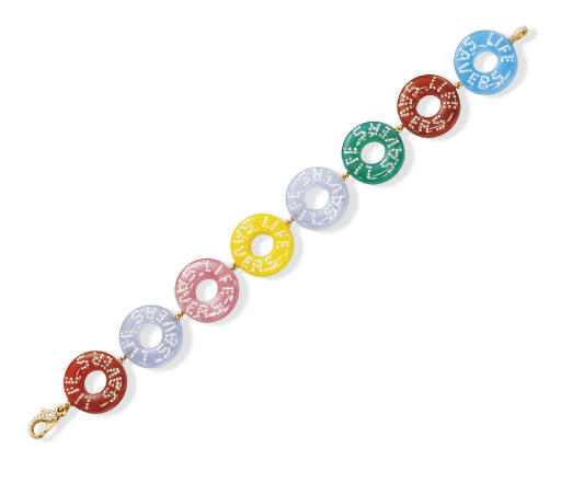 A MULTI-GEM AND DIAMOND 'LIFE SAVERS' BRACELET, BY SUZANNE SYZ