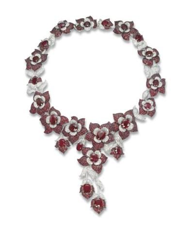 A RUBY AND DIAMOND 'FLOWER' NE