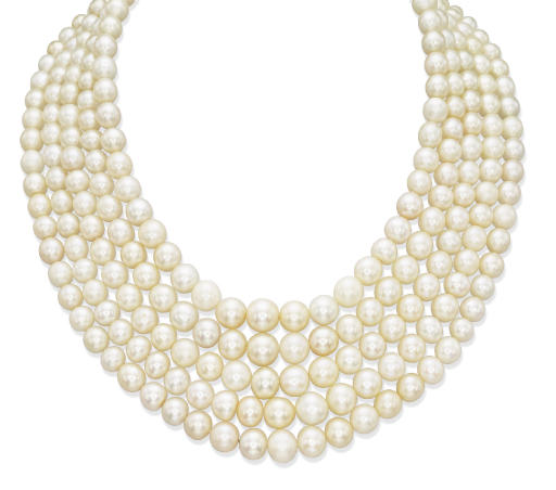 AN IMPORTANT ANTIQUE NATURAL PEARL AND DIAMOND NECKLACE