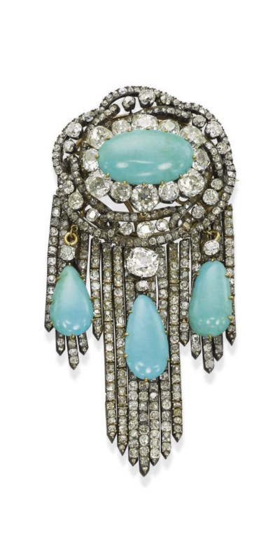 AN ANTIQUE DIAMOND AND TURQUOI