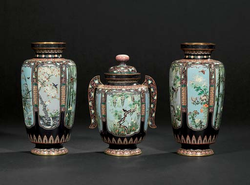A CLOISONNÉ SET OF VASES