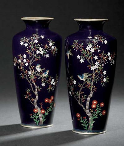 A PAIR OF CLOISONNÉ VASES