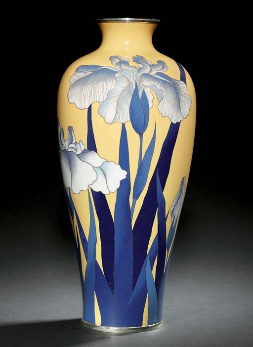 A PAIR OF CLOISONNÉ VASES AND