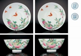 A PAIR OF MAGNIFICENT FAMILLE ROSE 'PEACH' BOWLS