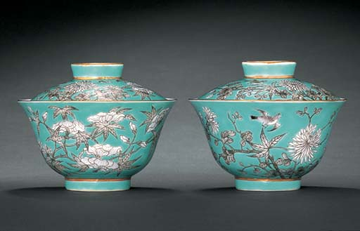 A PAIR OF TURQUOISE-GROUND BOWLS AND COVERS GUANGXU IRON-RED SIX-CHARACTER MARKS AND OF THE PERIOD (1875-1908)