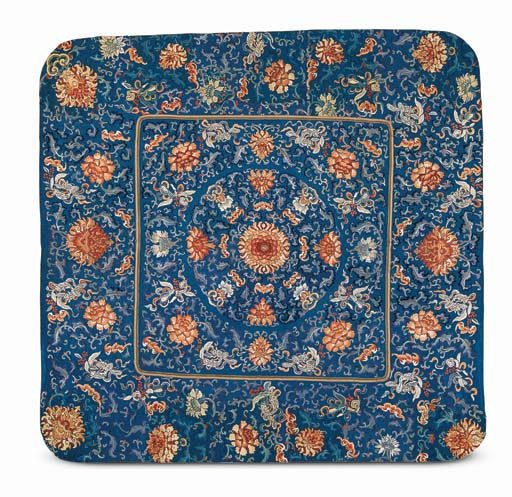 AN EMBROIDERED BLUE-GROUND KANG CUSHION COVER