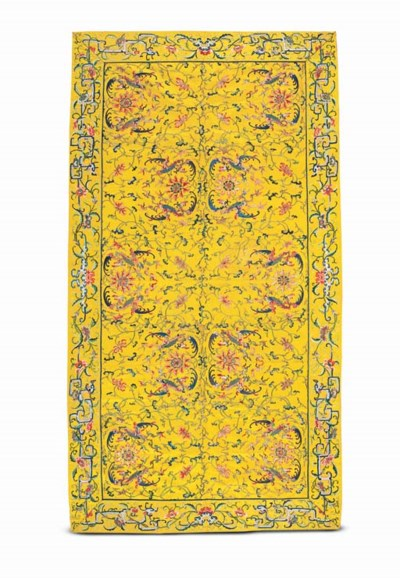 A FINELY EMBROIDERED YELLOW-GR