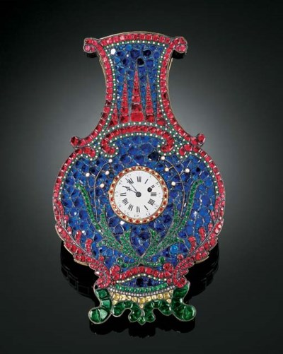 A RARE EMBELLISHED WALL VASE W