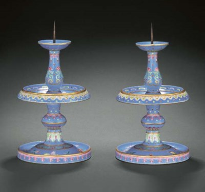 A FINELY ENAMELLED RARE PAIR O