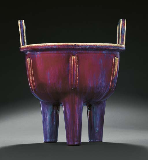A VERY RARE LARGE FLAMBE-GLAZED TRIPOD CENSER, DING