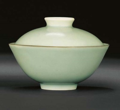 A FINE AND RARE CELADON-GLAZED
