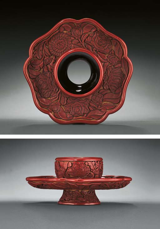 A RARE CARVED CINNABAR LACQUER CUP-STAND