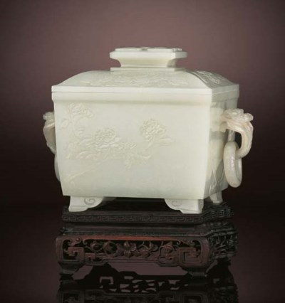 A FINE WHITE JADE CENSER AND C