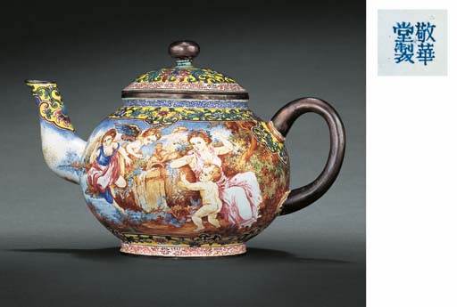 A RARE SILVER-BODIED CANTON ENAMEL TEAPOT AND COVER