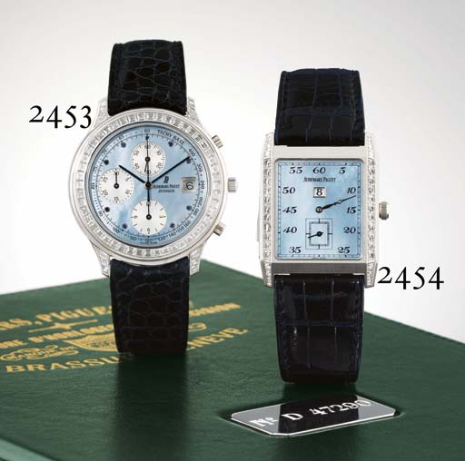 AUDEMARS PIGUET. A FINE AND UNIQUE PLATINUM AND DIAMOND-SET RECTANGULAR MINUTE REPEATING JUMP HOUR WRISTWATCH WITH MOTHER-OF-PEARL DIAL