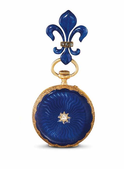 PATEK PHILIPPE. A LADY'S 18K GOLD AND DIAMOND-SET ENAMEL OPENFACE KEYLESS LEVER PENDANT WATCH