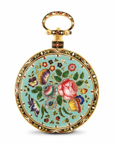 ILBERY. AN 18K GOLD AND ENAMEL