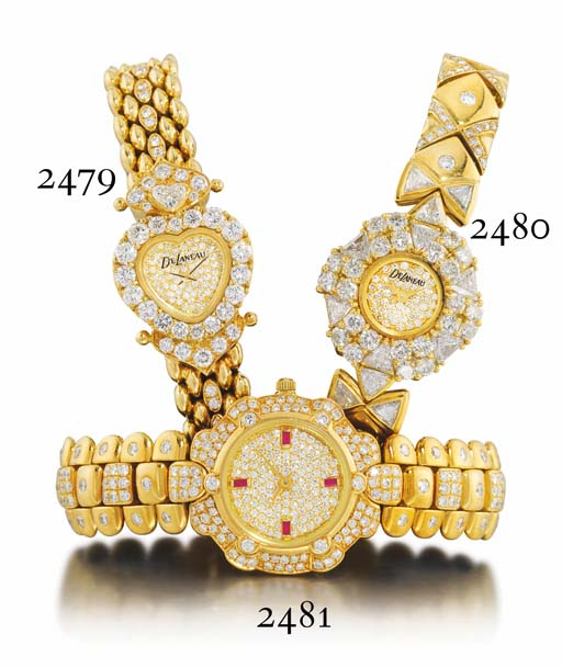 DELANEAU. A LADY'S 18K GOLD, DIAMOND AND RUBY-SET WRISTWATCH WITH BRACELET