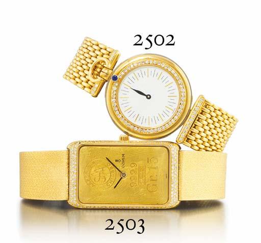 AUDEMARS PIGUET. AN 18K TWO-COLOUR GOLD, DIAMOND AND SAPPHIRE-SET SINGLE-HAND WRISTWATCH WITH BRACELET