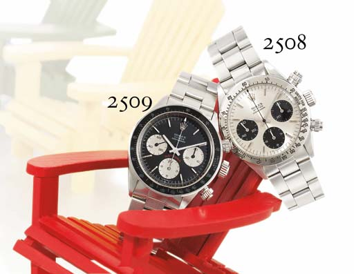 ROLEX. A STAINLESS STEEL CHRONOGRAPH WRISTWATCH WITH BRACELET