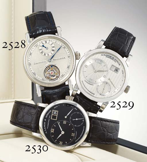 A. LANGE & SOHNE. A FINE PLATINUM WRISTWATCH WITH POWER RESERVE AND DATE