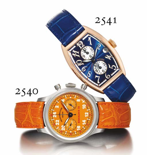 FRANCK MULLER. AN 18K PINK GOLD TONNEAU-SHAPED AUTOMATIC TRIPLE TIME ZONE WRISTWATCH WITH CENTRE SECONDS, DATE AND BLUE GUILLOCHÉ ENAMEL DIAL