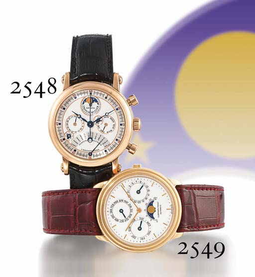 AUDEMARS PIGUET. A FINE 18K PINK GOLD AUTOMATIC PERPETUAL CALENDAR WRISTWATCH WITH PHASES OF THE MOON