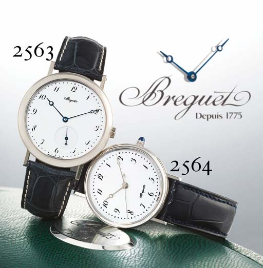 BREGUET. A FINE OVERSIZED 18K WHITE GOLD AUTOMATIC WRISTWATCH WITH ENAMEL DIAL