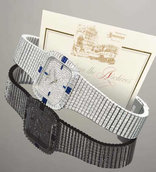 PATEK PHILIPPE. A FINE 18K WHITE GOLD, DIAMOND AND SAPPHIRE-SET SQUARE WRISTWATCH WITH BRACELET